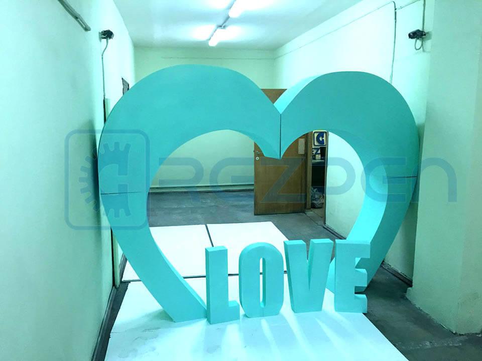 свадебная арка и буквы love из пенопласта